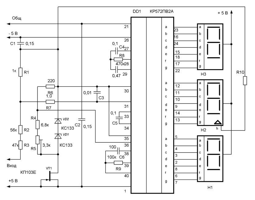 Схема электронного вольтметра
